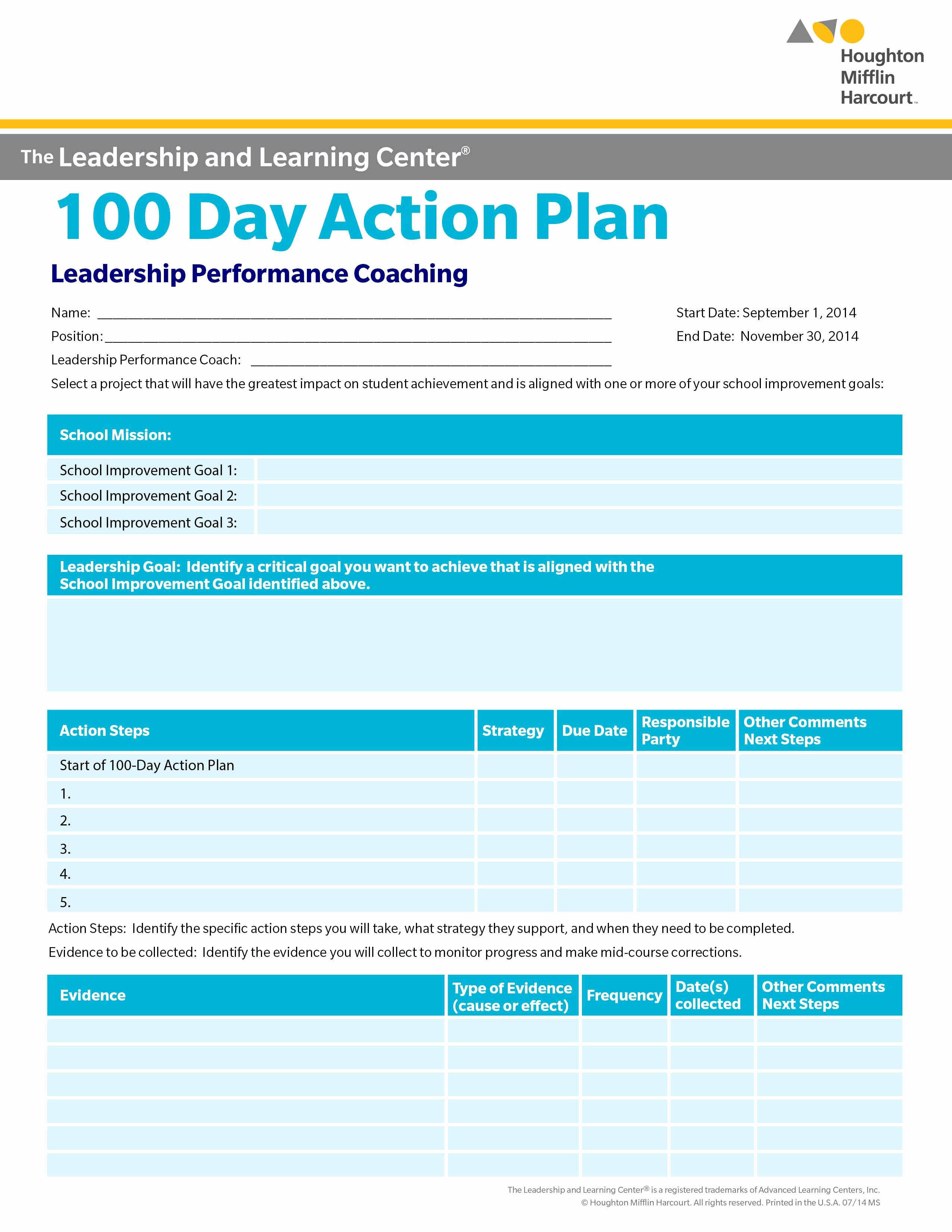 100 Day Plan Template Elegant School Improvement 100 Day Action Plan Select A Goal for School Improvement that Will Make A