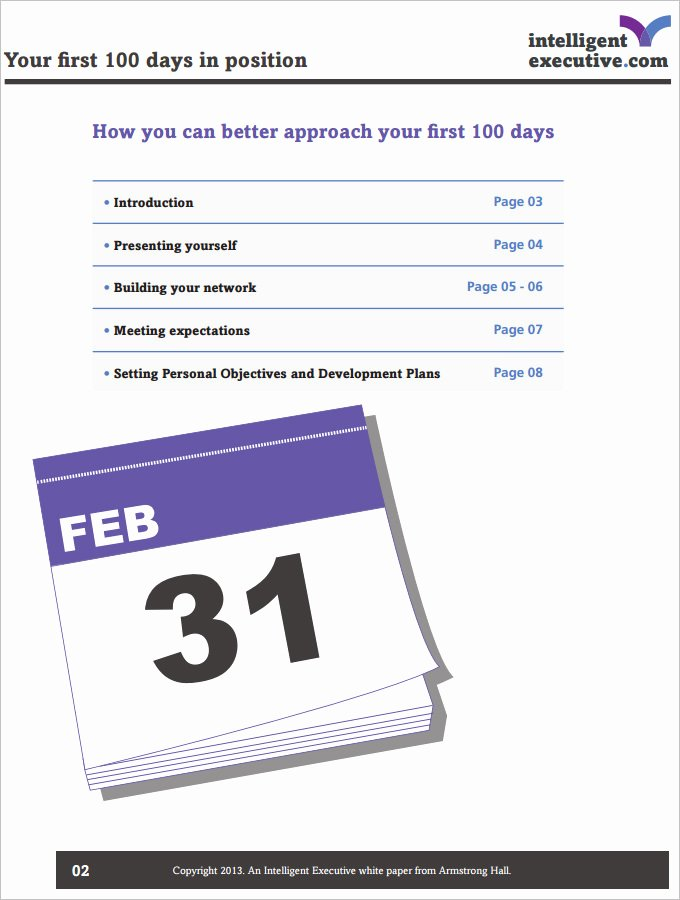 100 Day Plan Template Luxury 4 Sample 100 Day Plan Templates Download for Pdf Word Docs format