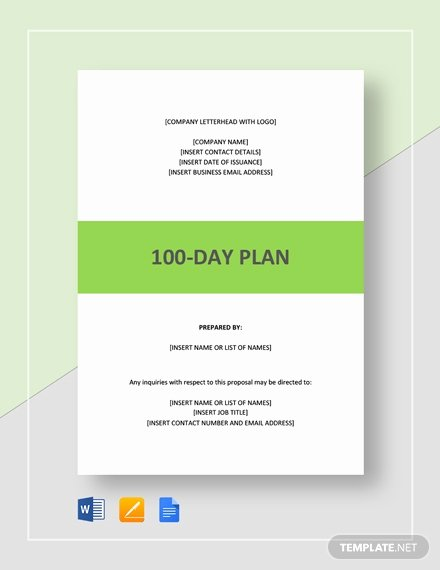 100 Day Planning Template Luxury 100 Day Plan Template Word Google Docs Apple Pages Pdf