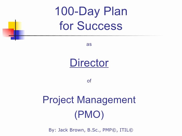 100 Day Planning Template New 100 Day Plan for Directing A Pmo