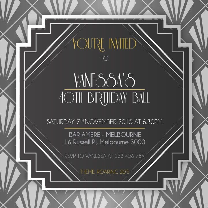 1920s Invitation Template Free Beautiful 1920 S Birthday Digital Printable Invitation Template