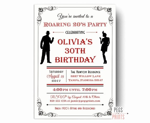 1920s Invitation Template Free Beautiful Roaring 20s Invitation Printable 1920s Invitations