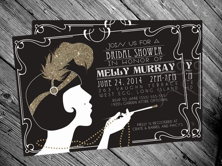 1920s Invitation Template Free Elegant 1920 S Gatsby Flapper Bridal Shower Invitation