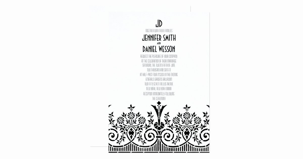1920s Invitation Template Free Fresh 1920s theme Wedding Invitation Template