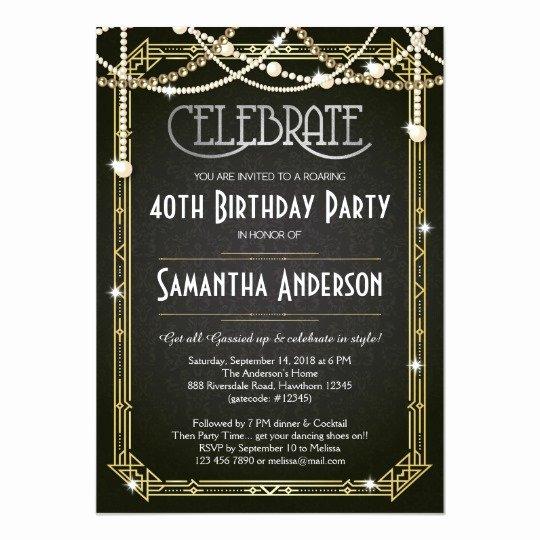 1920s Invitation Template Free Fresh Great Gatsby Birthday Invitation Art Deco Invite
