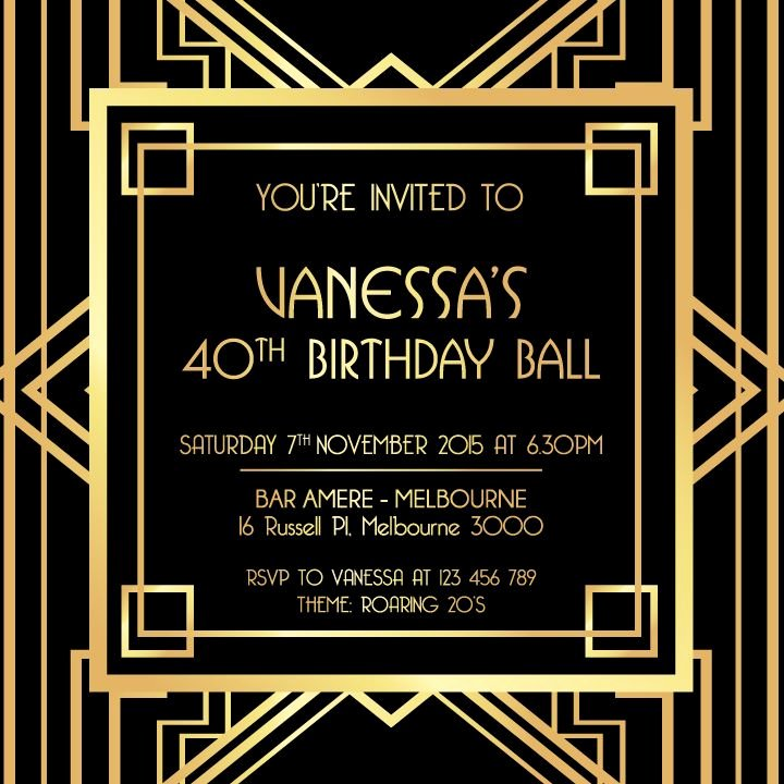1920s Invitation Template Free Luxury Great Gatsby Invitation Black and Gold