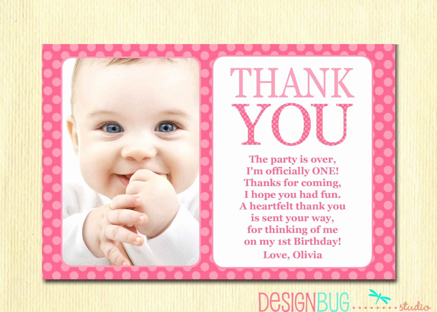 1st Birthday Thank You Cards Beautiful First Birthday Matching Thank You Card 4x6 the Big One Diy