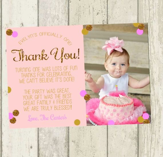 1st Birthday Thank You Cards Beautiful First Birthday Thank You Card Pink & Gold by
