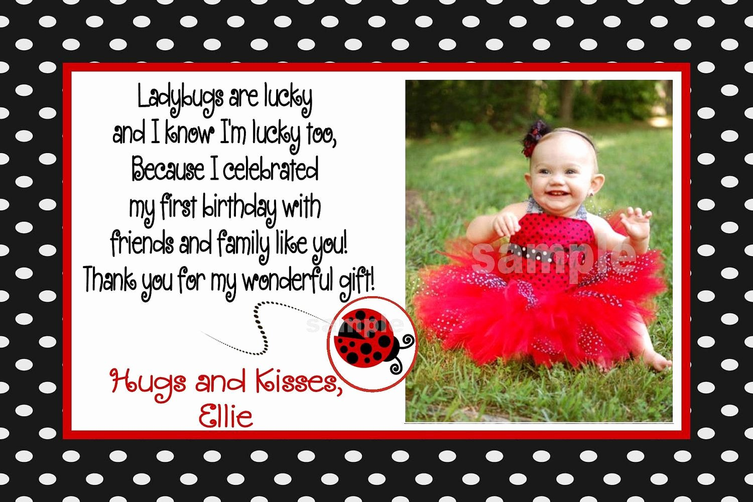1st Birthday Thank You Cards Beautiful Lady Bug First Birthday Thank You Cards