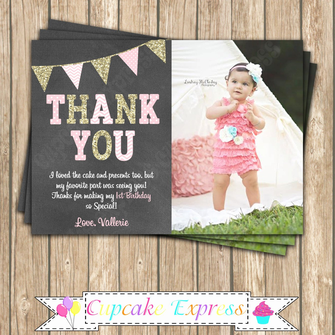 1st Birthday Thank You Cards Best Of E First Birthday Girl Coral Pink Gold Printable Thank