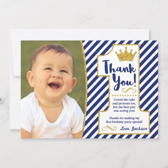 1st Birthday Thank You Cards Elegant Prince First Birthday Thank You Card