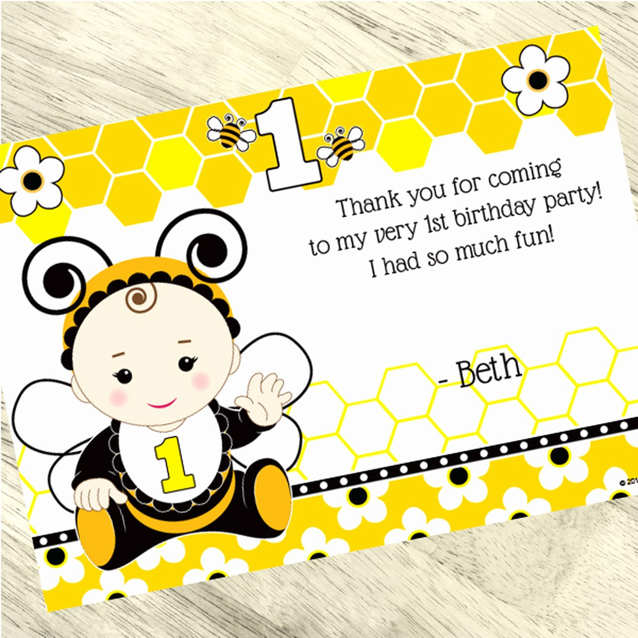 1st Birthday Thank You Cards Fresh Bumble Bee 1st Birthday Custom Thank You Cards 24ct