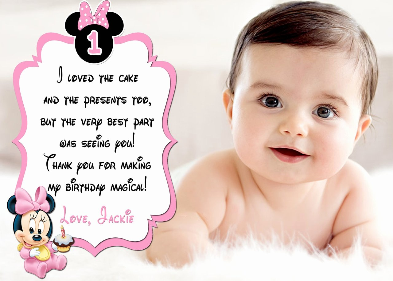 cute baby minnie mouse 1st birthday thank you card