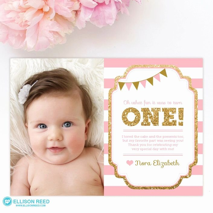 1st Birthday Thank You Cards Fresh Pin by Damaris Duran On Pink and Gold Party Ideas