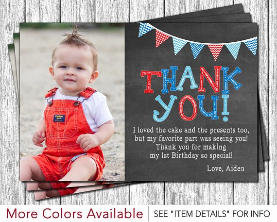 1st Birthday Thank You Cards Inspirational First Birthday Thank You Card 1st Birthday Chalkboard Thank