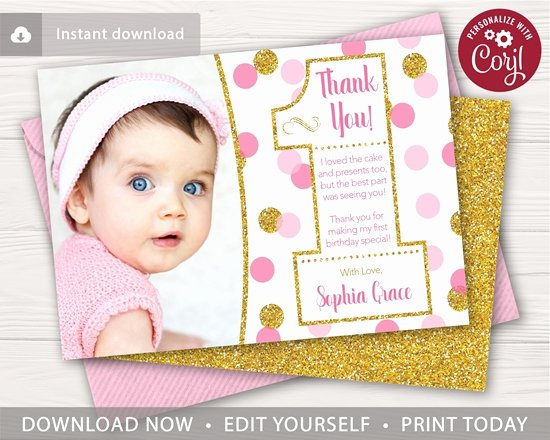1st Birthday Thank You Cards Inspirational Pink and Gold Confetti 1st Birthday Thank You Card with