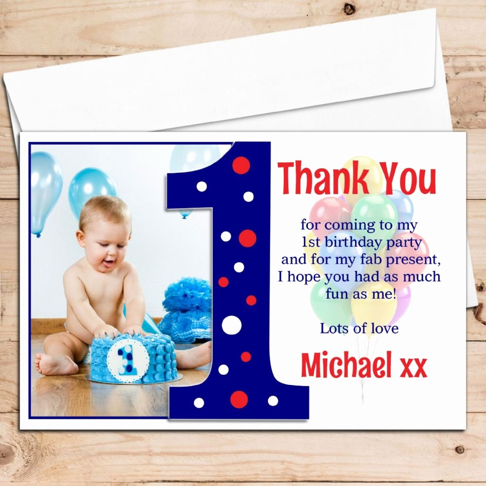 1st Birthday Thank You Cards Lovely 10 Personalised Boys First 1st Birthday Thank You Photo