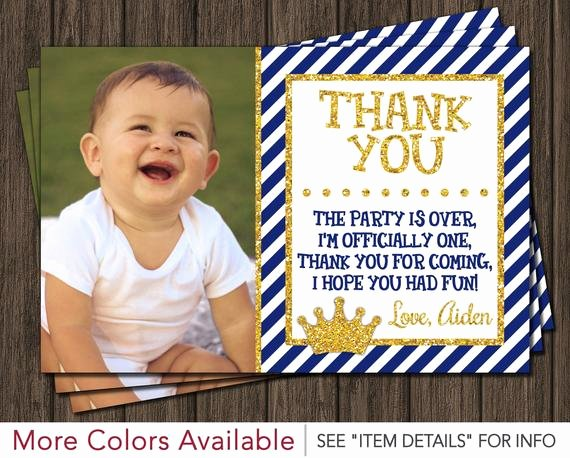 1st Birthday Thank You Cards Lovely Prince Thank You Card Royal Blue First Birthday Thank You