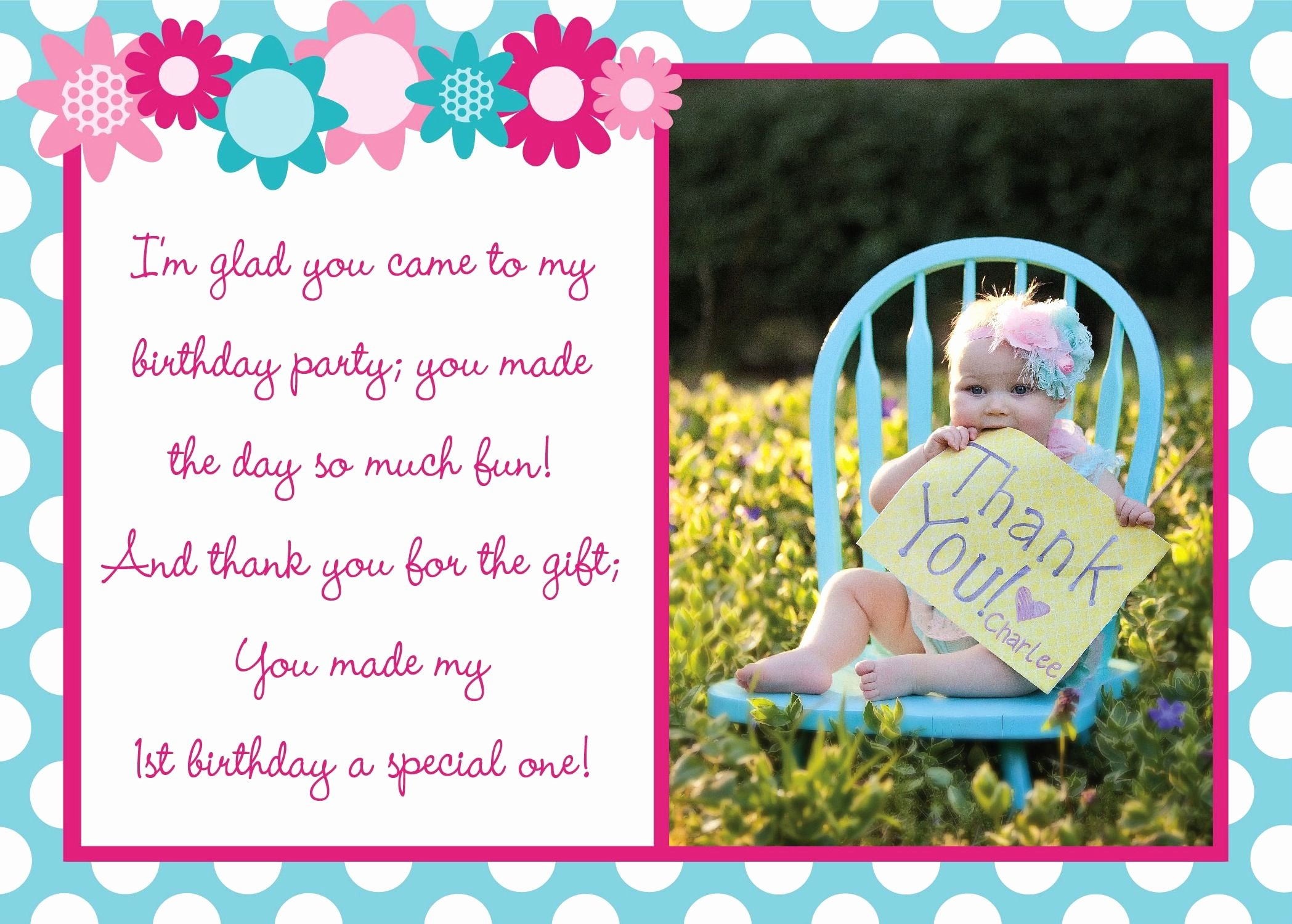 1st Birthday Thank You Cards Luxury First Birthday Thank You Card