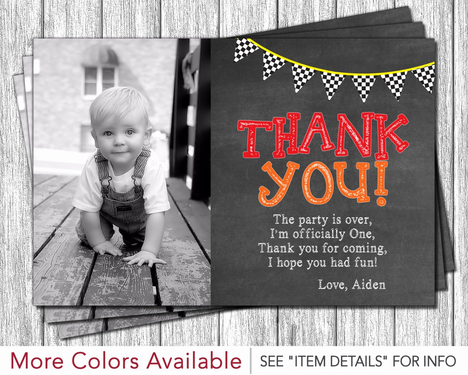 1st Birthday Thank You Cards Luxury Race Car First Birthday Thank You Card Monster Truck 1st