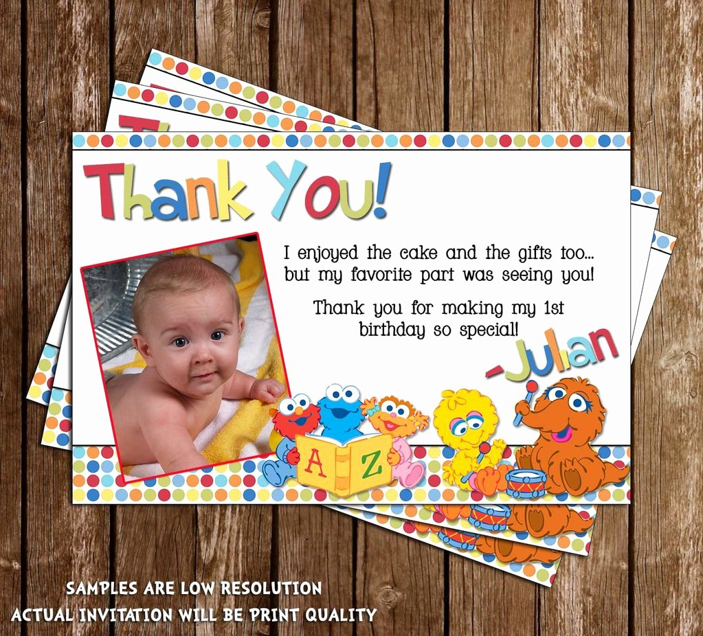 1st Birthday Thank You Cards New Novel Concept Designs Baby Sesame Street 1st Birthday