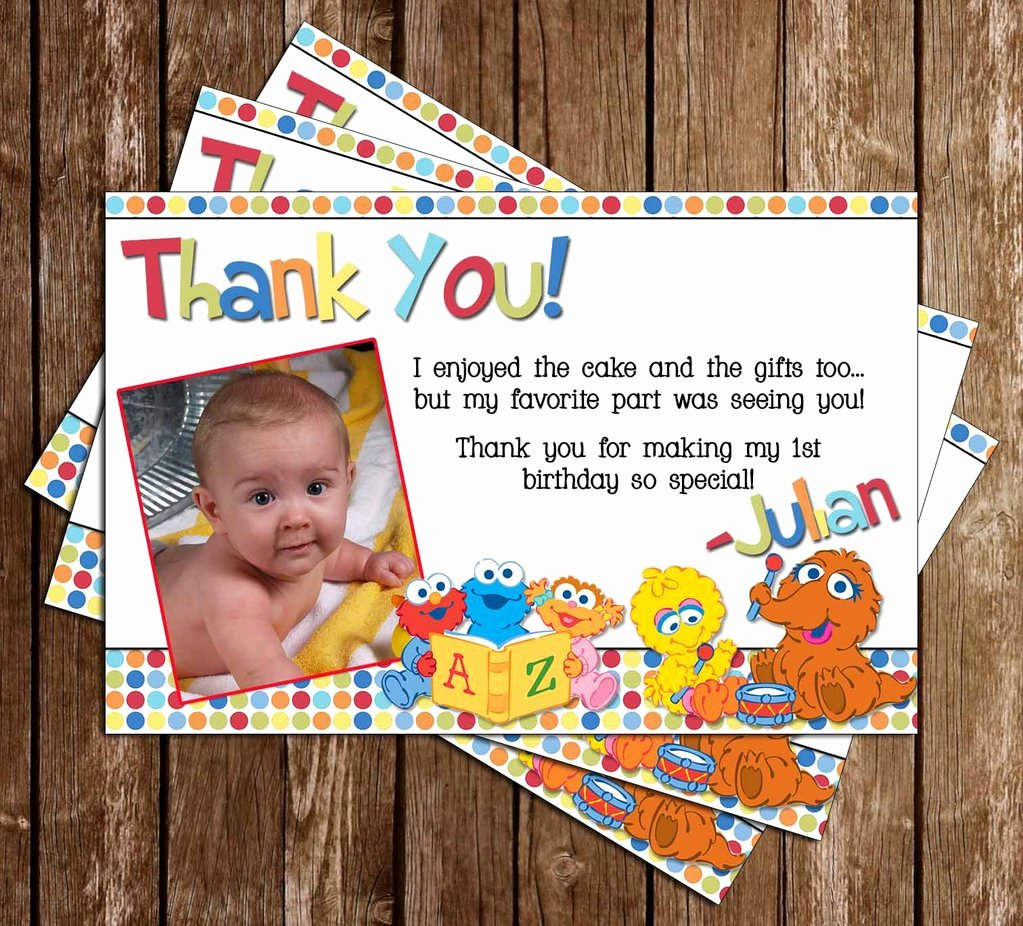 1st Birthday Thank You Cards New Novel Concept Designs Baby Sesame Street 1st Birthday Thank You Card