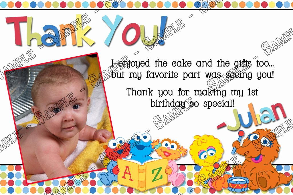 1st Birthday Thank You Cards Unique Novel Concept Designs Baby Sesame Street 1st Birthday