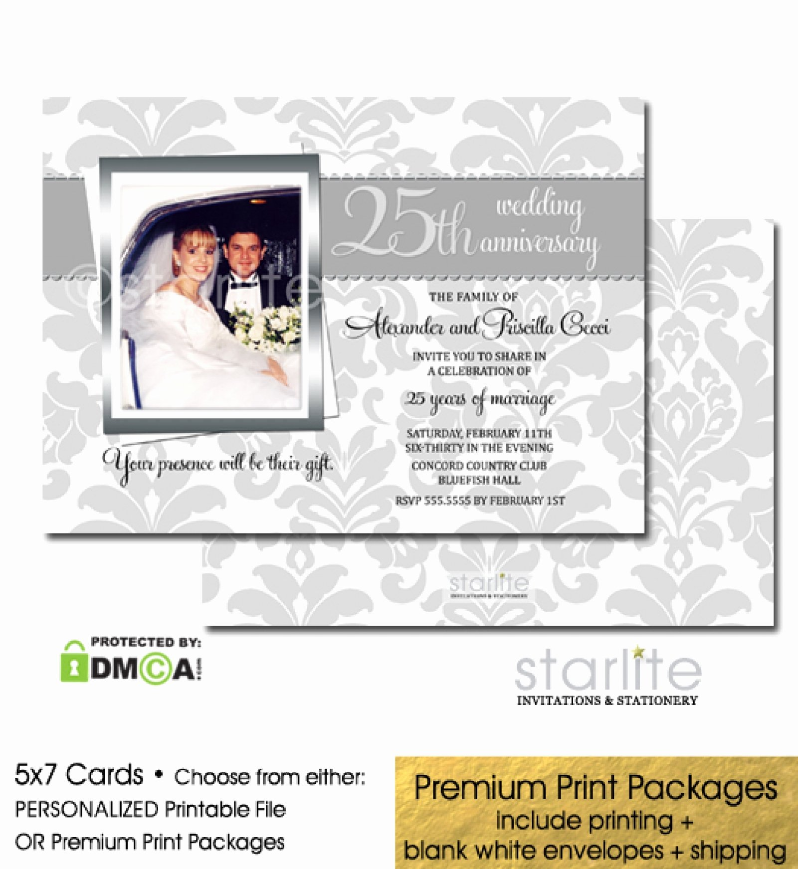 25th Wedding Anniversary Invitation Cards Awesome 25th Silver Wedding Anniversary Invitation