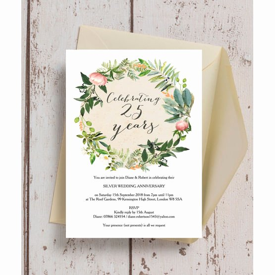 25th Wedding Anniversary Invitation Cards Awesome Floral Wreath 25th Silver Wedding Anniversary Invitation From £0 90 Each