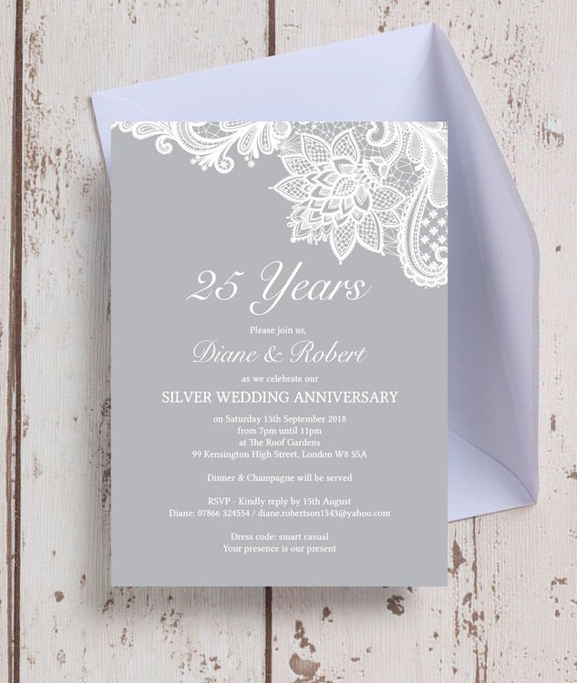 25th Wedding Anniversary Invitation Cards Awesome Vintage Lace themed 25th Silver Wedding Anniversary Invitation From £0 90 Each