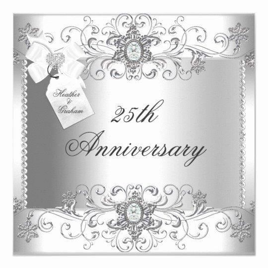 25th Wedding Anniversary Invitation Cards Beautiful 25th Anniversary Silver White Diamond Invitation