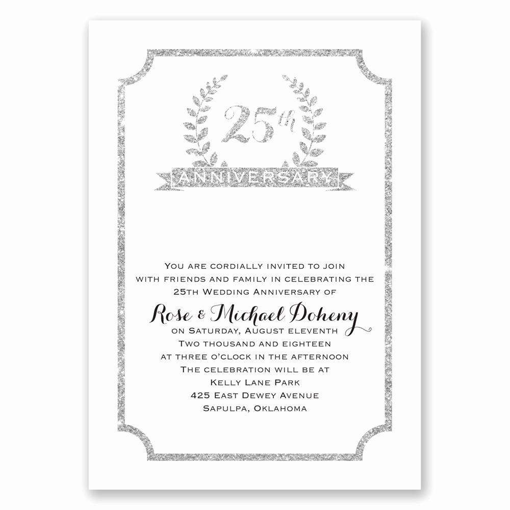 25th Wedding Anniversary Invitation Cards Beautiful 25th Crest Faux Glitter Anniversary Invitation