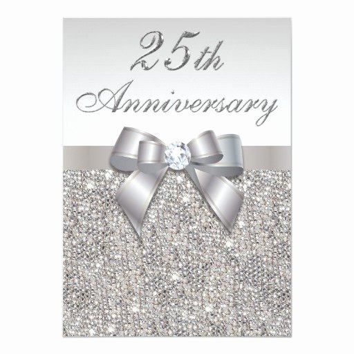 25th Wedding Anniversary Invitation Cards Beautiful 25th Silver Wedding Anniversary Faux Sequins & Bow Card