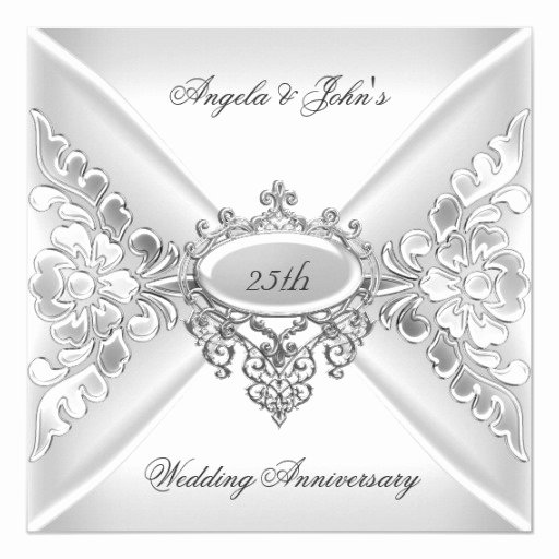 25th Wedding Anniversary Invitation Cards Lovely 25th Wedding Anniversary Elegant Silver White Card