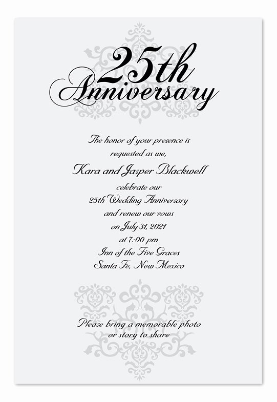 25th Wedding Anniversary Invitation Cards Lovely Elegant Anniversary Anniversary Invitations by Invitation Consultants Ic Rlp 30