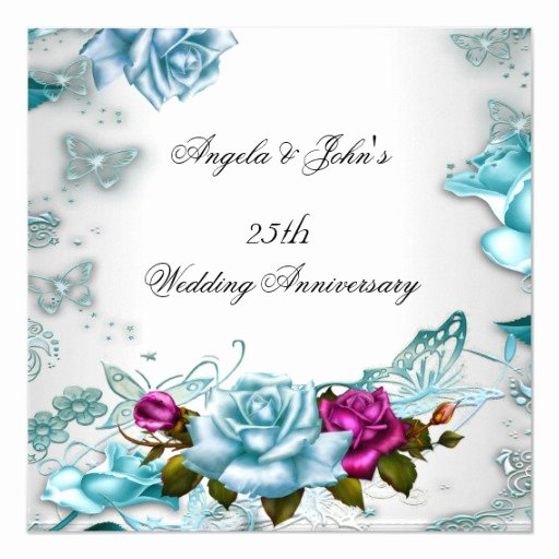 25th Wedding Anniversary Invitation Cards New 25th Wedding Anniversary Blue Floral Pink Invitation
