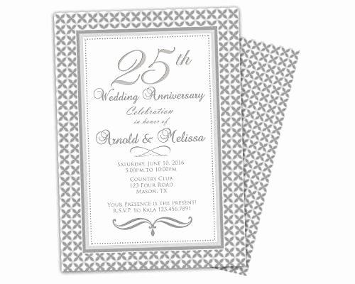 25th Wedding Anniversary Invitation Cards New Amazon Silver 25th Wedding Anniversary Invitations Party Handmade