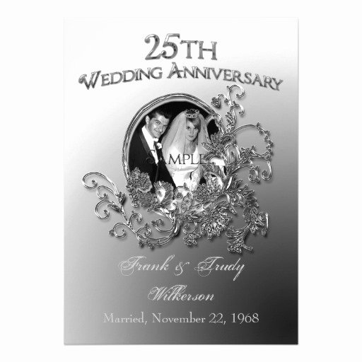 "25th Wedding Anniversary Invitation Cards Unique 25th Silver Wedding Anniversary Invitations 5"" X 7"" Invitation Card"