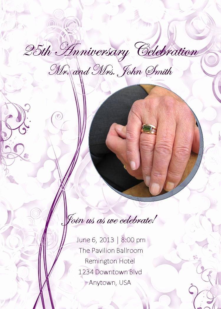 25th Wedding Anniversary Invitations Templates Beautiful 25th Wedding Anniversary Invites 25th Wedding Anniversary Invitations Templates Free Invite