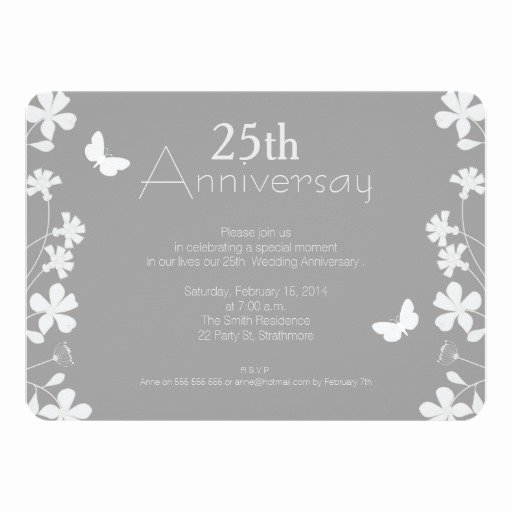 floral 25th wedding anniversary invitation