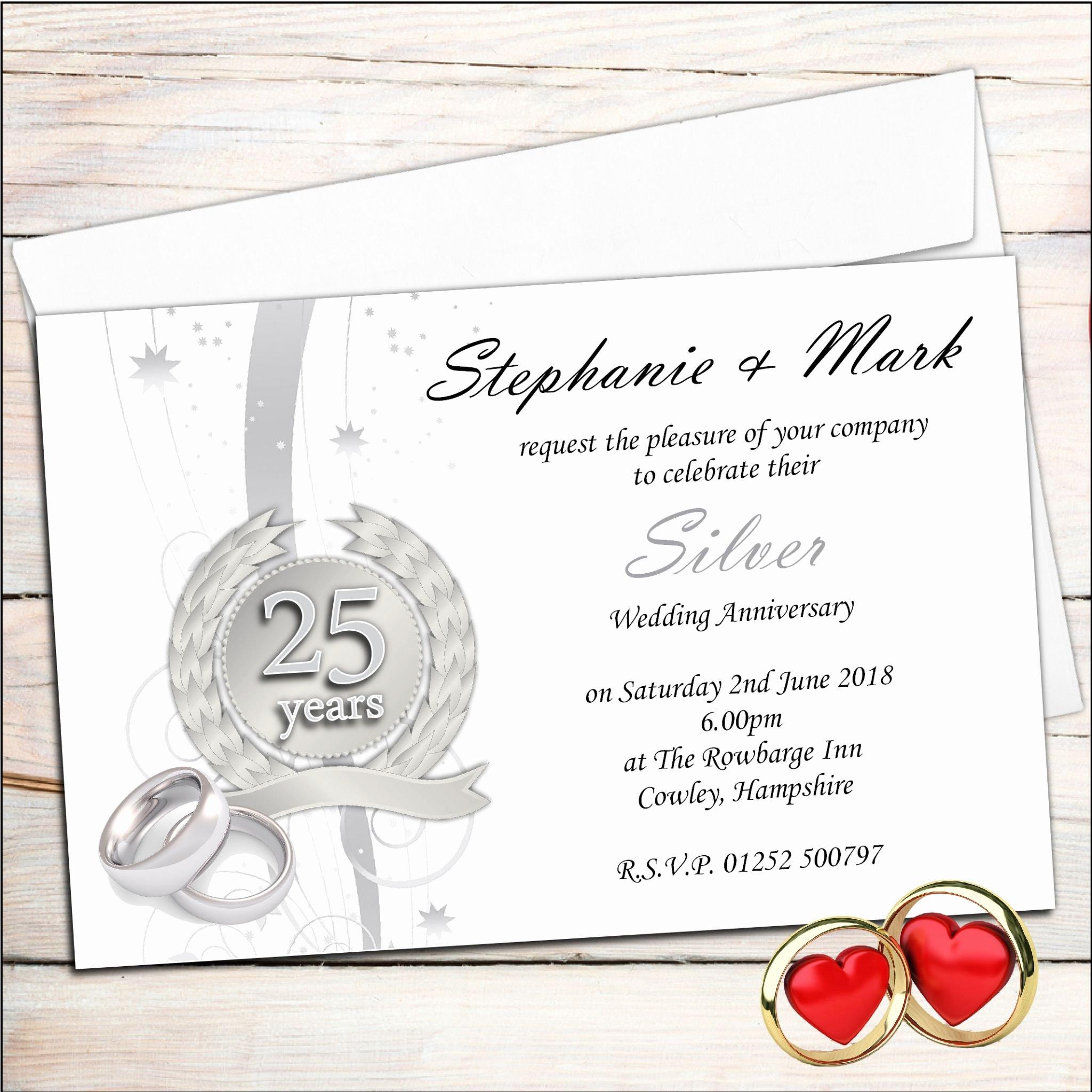 25th Wedding Anniversary Invitations Templates Best Of Anniversary Invitations 25th Silver Wedding Anniversary Invitations Invite Card Ideas