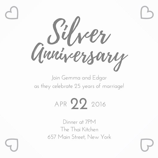 25th Wedding Anniversary Invitations Templates Best Of Silver 25th Wedding Anniversary Invitation Templates by Canva