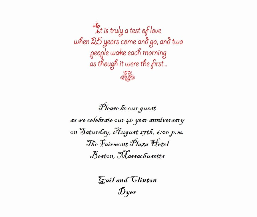 25th Wedding Anniversary Invitations Templates Elegant 25th Wedding Anniversary Invitations 5 Wording
