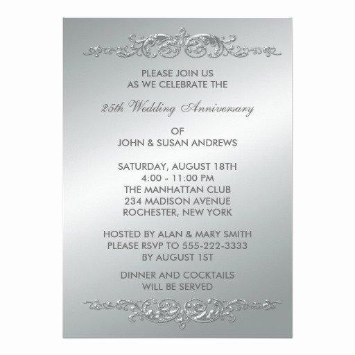 25th Wedding Anniversary Invitations Templates Elegant Silver 25th Wedding Anniversary Invitations
