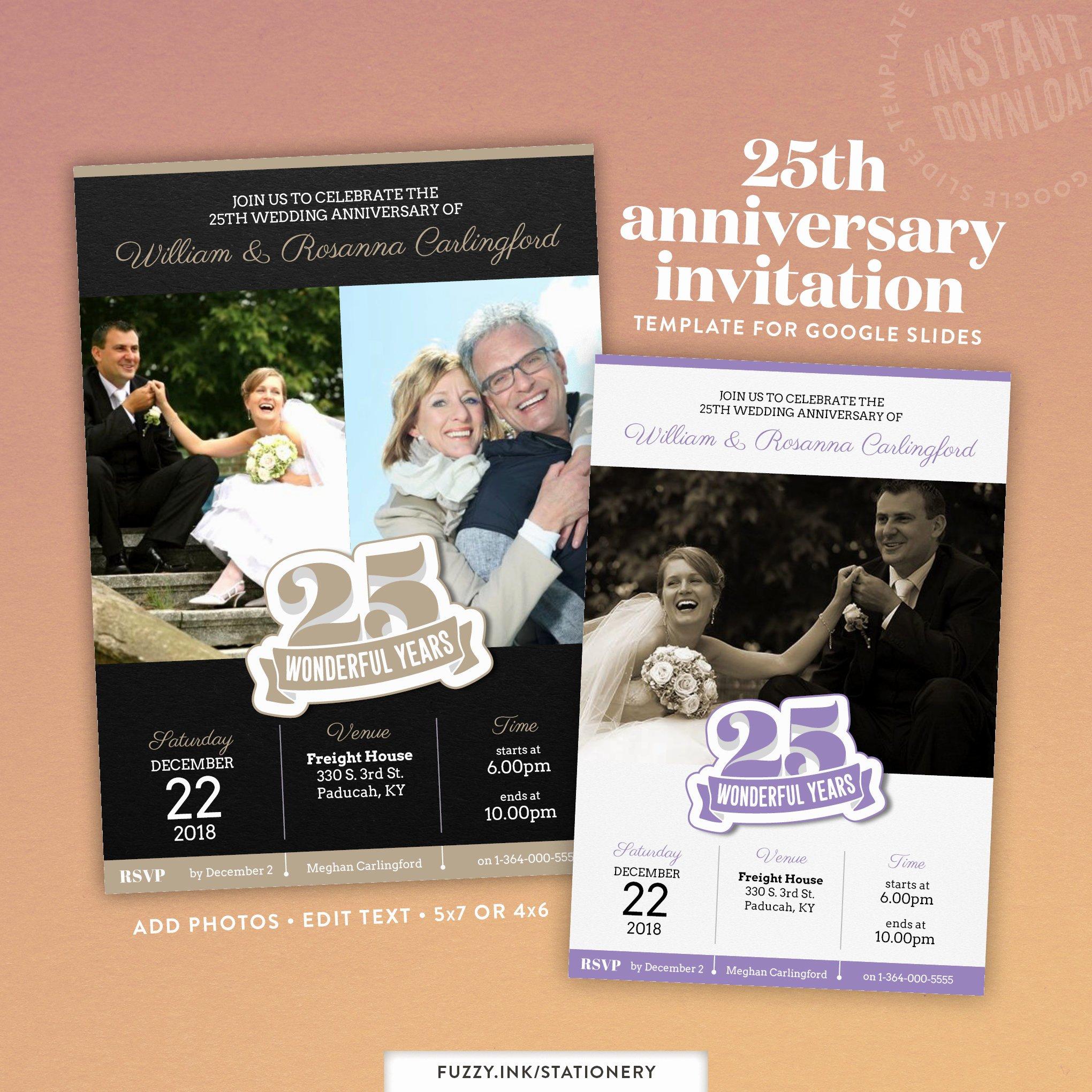 25th Wedding Anniversary Invitations Templates Lovely 25th Wedding Anniversary Party Invitation or Evite Template