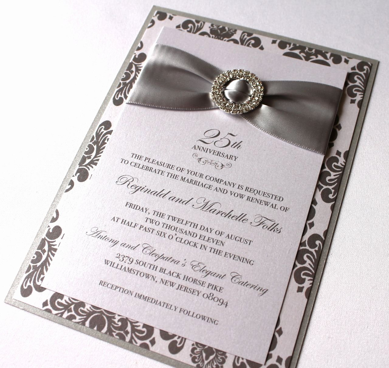 25th Wedding Anniversary Invitations Templates Lovely Embellished Paperie 25th Anniversary Invitations Silver and White Damask
