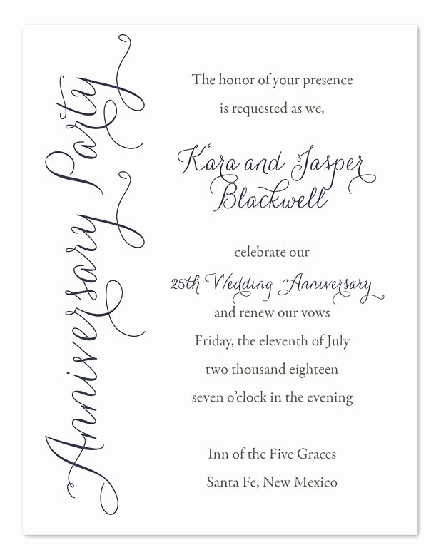 25th Wedding Anniversary Invitations Templates New 50th Wedding Anniversary Invite Wording Pick A Card Any Card In 2019