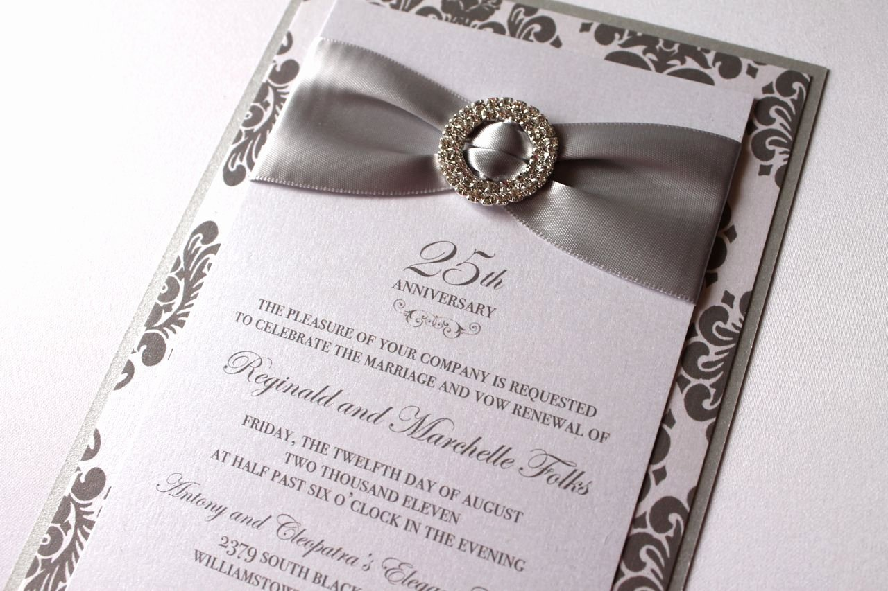 25th Wedding Anniversary Invitations Templates New Embellished Paperie 25th Anniversary Invitations Silver and White Damask