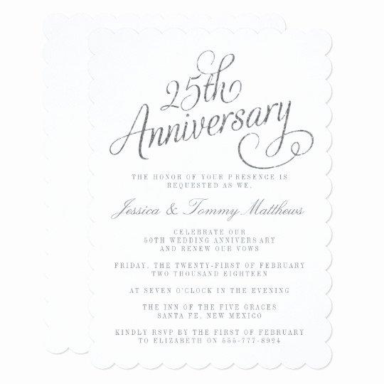 25th Wedding Anniversary Invitations Templates Unique 25th Silver Wedding Anniversary Invitations