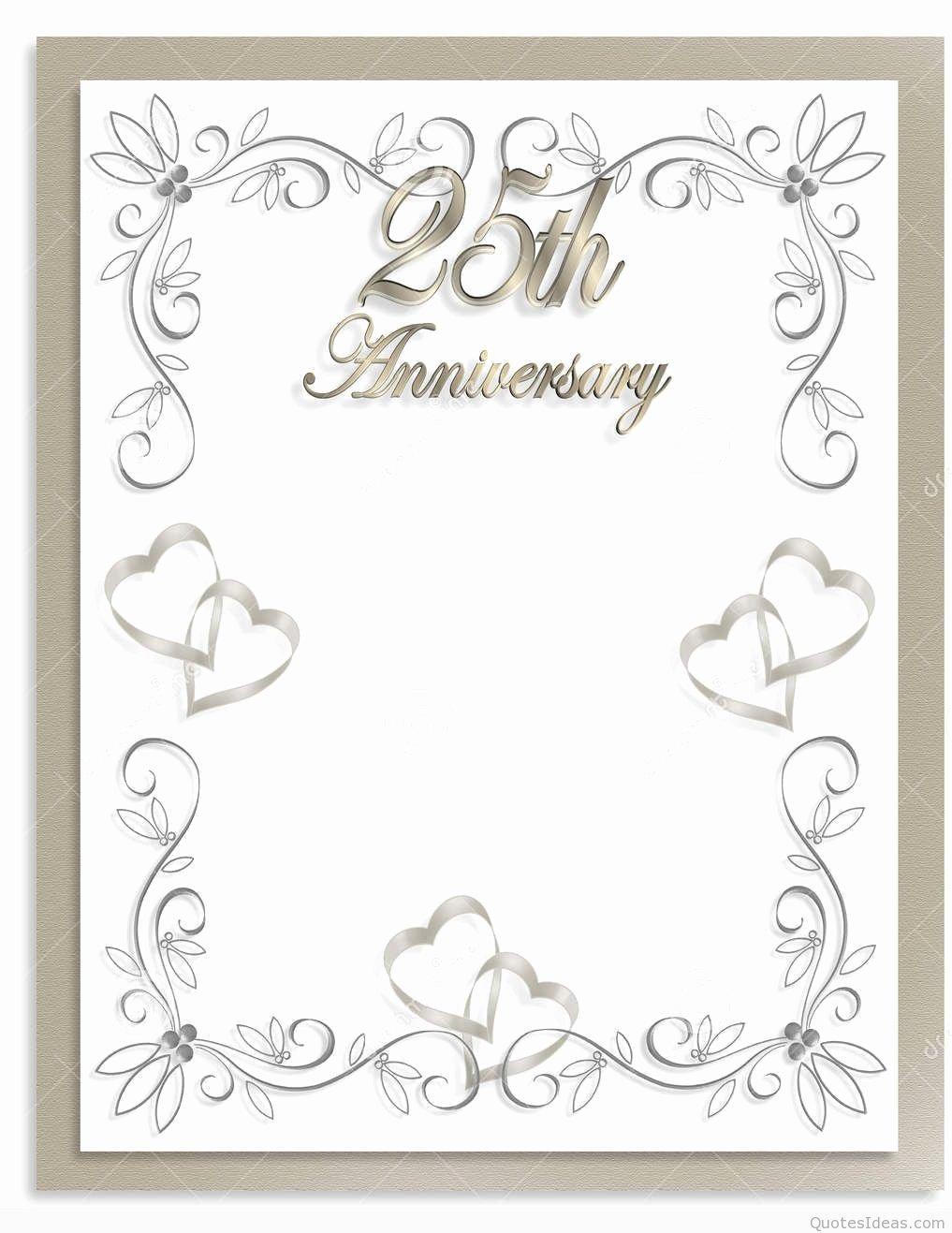 25th Wedding Anniversary Invitations Templates Unique Free 25th Wedding Anniversary Invitations Free Templates for 25th Wedding Anniversary
